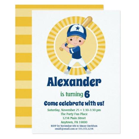 Baseball Player - Blonde Boys Birthday Invitation