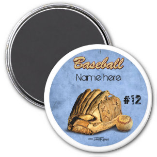 Baseball Player - blue 3 Inch Round Magnet