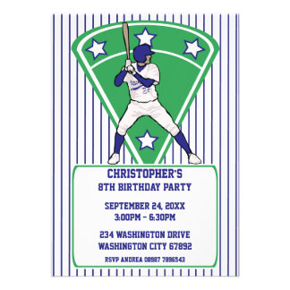 Baseball Player Blue Birthday Party Personalized Invitation
