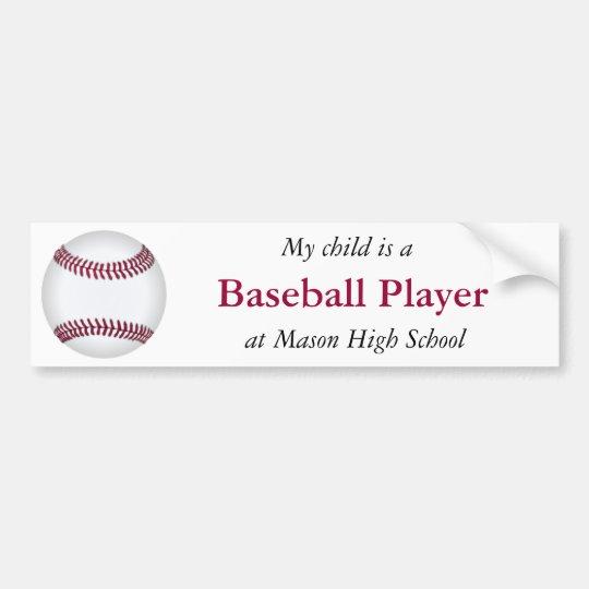 Baseball Player Bumper Sticker