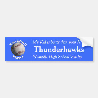Baseball Player Car Bumper Sticker