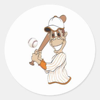 Baseball Player Cartoon Classic Round Sticker