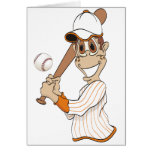 Baseball Player Cartoon Greeting Card
