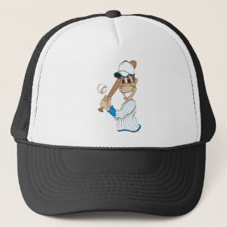 Baseball Player Cartoon Trucker Hat