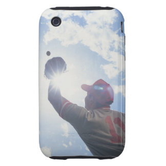 Baseball player catching ball with sun in his iPhone 3 tough cover