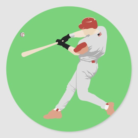 Baseball Player Classic Round Sticker