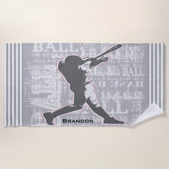 Baseball Player Design Beach Towel