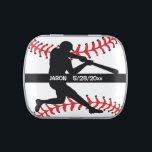 """Baseball Player Design Party Favor Jelly Belly Candy Tin<br><div class=""""desc"""">Baseball Player Design Party Favor Candy Container with customizable text.</div>"""