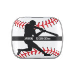 Baseball Player Design Party Favor Jelly Belly Tin<br><div class='desc'>Baseball Player Design Party Favor Candy Container with customizable text.</div>
