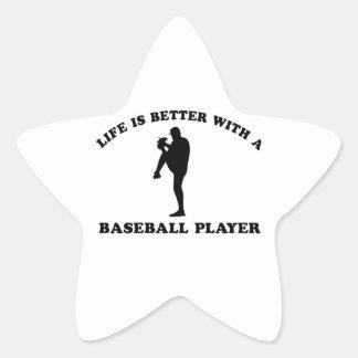 Baseball Player Designs Star Sticker