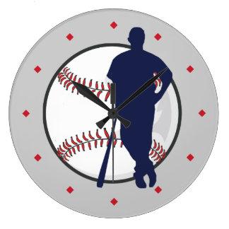 Baseball Player Diamond Marker Large Clock