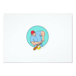 Baseball Player Hitting A Homerun Drawing Card