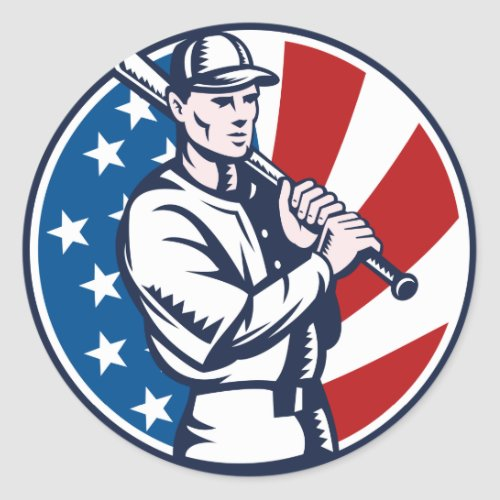 Baseball player holding bat american flag woodcut classic round sticker