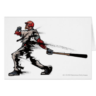 Baseball player holding bat, side view card