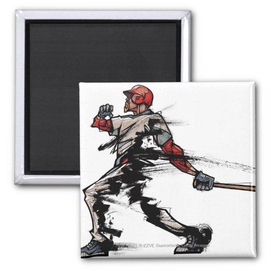 Baseball player holding bat, side view magnet
