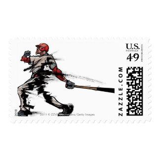 Baseball player holding bat, side view postage