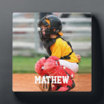 "Baseball Player Kid Photo Customize Plaque<br><div class=""desc"">Baseball Player Kid Photo Customize Plaque. Add your own photo and name text to personalize a memorable game photo of your kid.</div>"