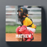 """Baseball Player Kid Photo Customize Plaque<br><div class=""""desc"""">Baseball Player Kid Photo Customize Plaque. Add your own photo and name text to personalize a memorable game photo of your kid.</div>"""