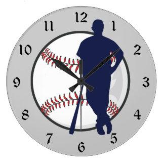 Baseball Player Large Clock
