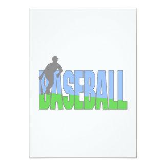 Baseball Player Logo 5x7 Paper Invitation Card