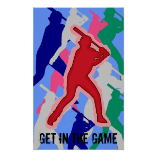 Baseball player mulitcolor fan artistic poster