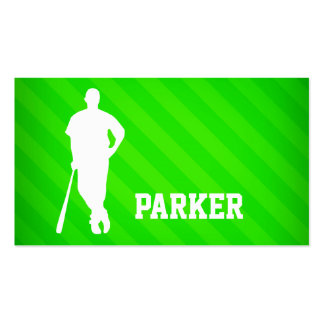 Baseball Player; Neon Green Stripes Business Card