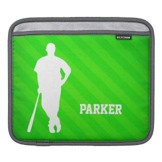 Baseball Player; Neon Green Stripes iPad Sleeve