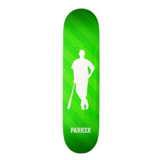 Baseball Player; Neon Green Stripes Skateboard Deck