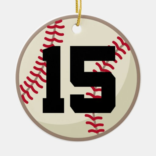 Baseball Player Number 15 Ornament