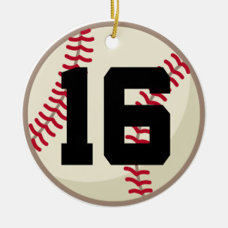 Baseball Player Number 16 Ornament