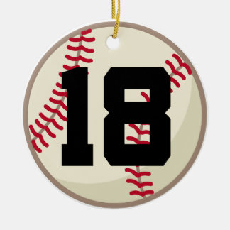 Baseball Player Number 18 Ornament