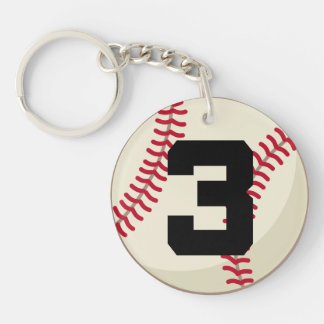 Baseball Player Number 3 Sports Ball Gift Keychain