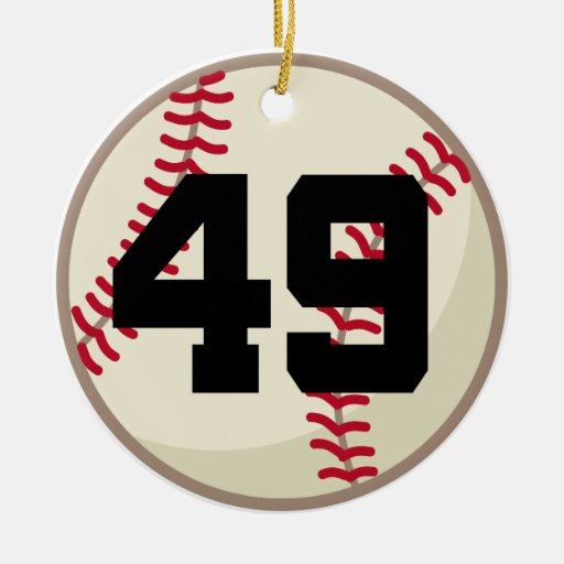 Baseball Player Number 49 Ornament