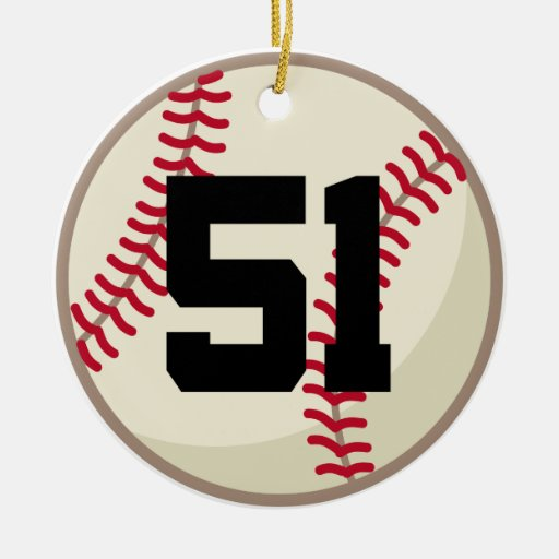 Baseball Player Number 51 Ornament