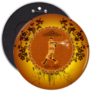 Baseball player on a round button