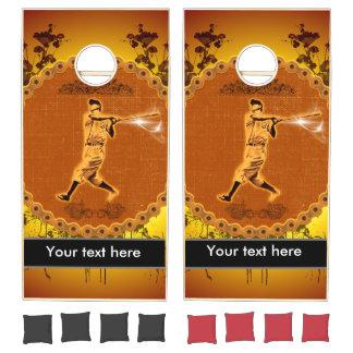Baseball player on a round button cornhole set