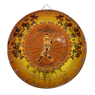 Baseball player on a round button dartboards