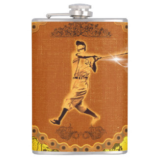 Baseball player on a round button hip flask