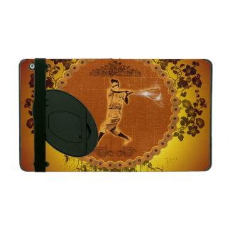 Baseball player on a round button iPad folio case