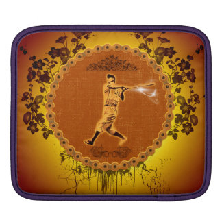 Baseball player on a round button iPad sleeves