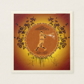 Baseball player on a round button paper napkin