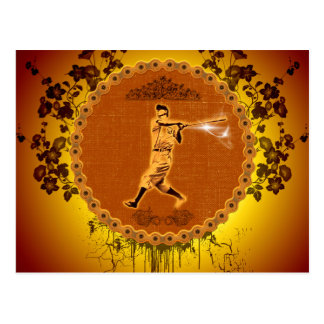 Baseball player on a round button postcard