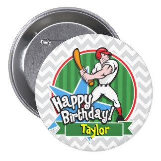 Baseball Player on Light Gray and White Chevron Pin