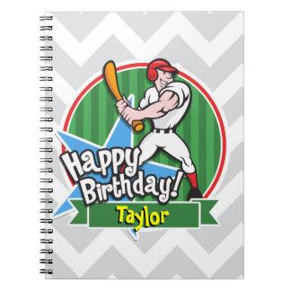 Baseball Player on Light Gray and White Chevron Notebooks