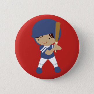 Baseball player on red button customizable
