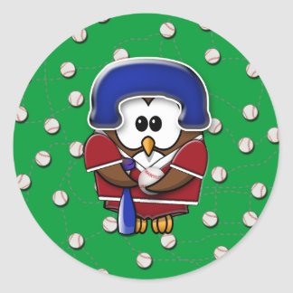 baseball player owl classic round sticker