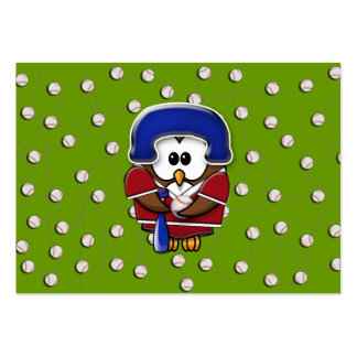 baseball player owl large business card