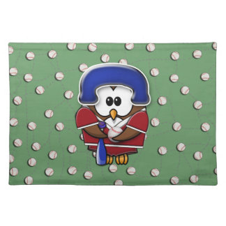 baseball player owl placemats