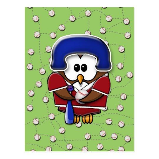 baseball player owl postcard