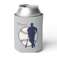 Baseball Player Personalized Can Cooler